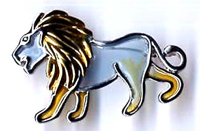 Animal jewelry supply, transparent blue lion fashion pin