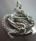 Oriental power  majestic dragon  sterling silver pendant